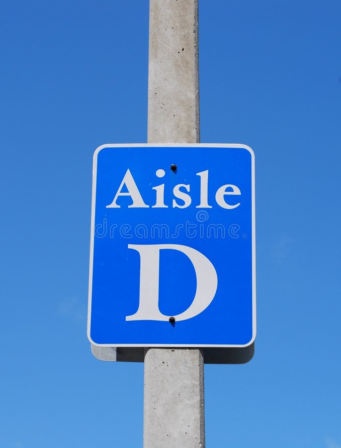 Parking lot aisle sign royalty free stock image