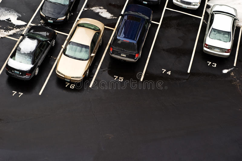 Download Parked Cars In Parking Lot - Winter Parking Stock Image - Image of parking, packed: 12621823