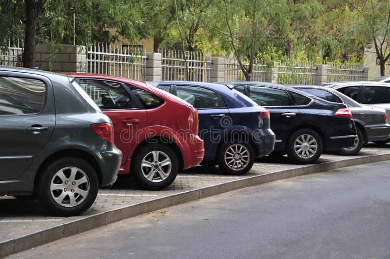 Parking lot cars. Row of cars on parking