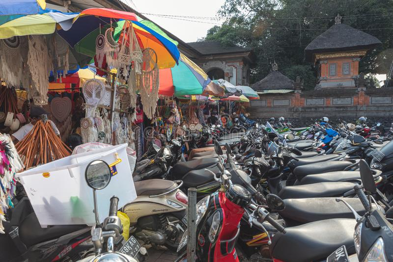 Parking lot for motorcycle for ubud markets in bali  July  22 2019 stock photos