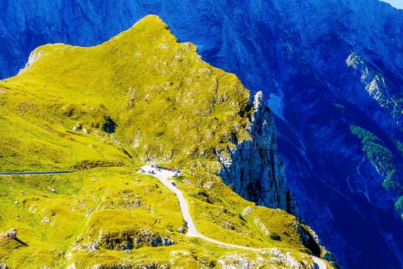 Parking lot on mountain peek on alpine highlands. Parking lot on mountain peek on alpine highlands stock photography