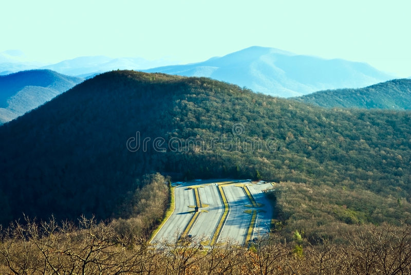 Parking Lot in the Mountains stock image