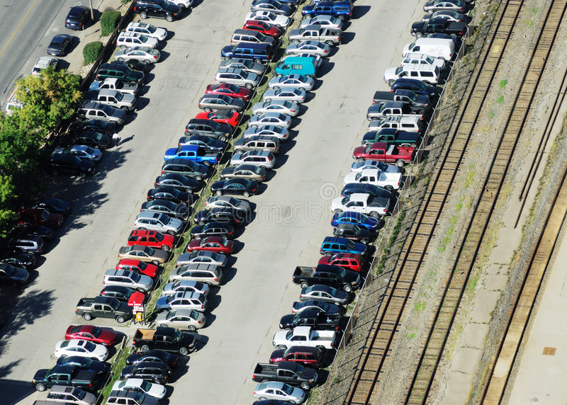 Parking Lot And Rail Tracks Stock Photos