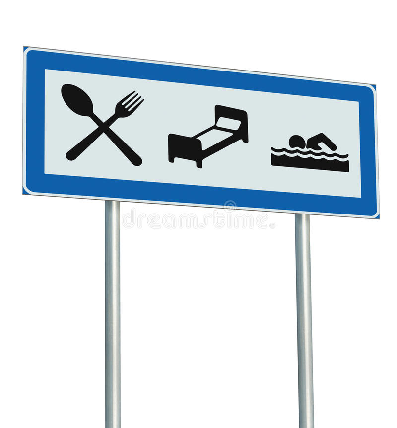 Parking Lot Road Sign Isolated Restaurant Hotel Motel Swimming Pool Icons, Roadside Signage Pole Post Blue Black White Signboard stock illustration