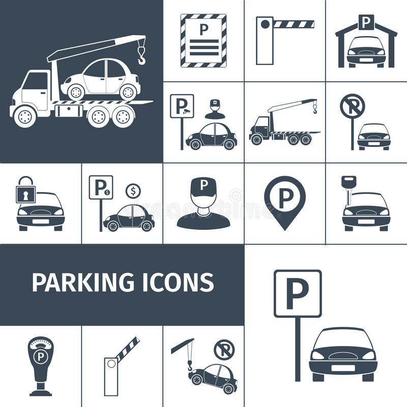 Parking Lot Set vector illustration