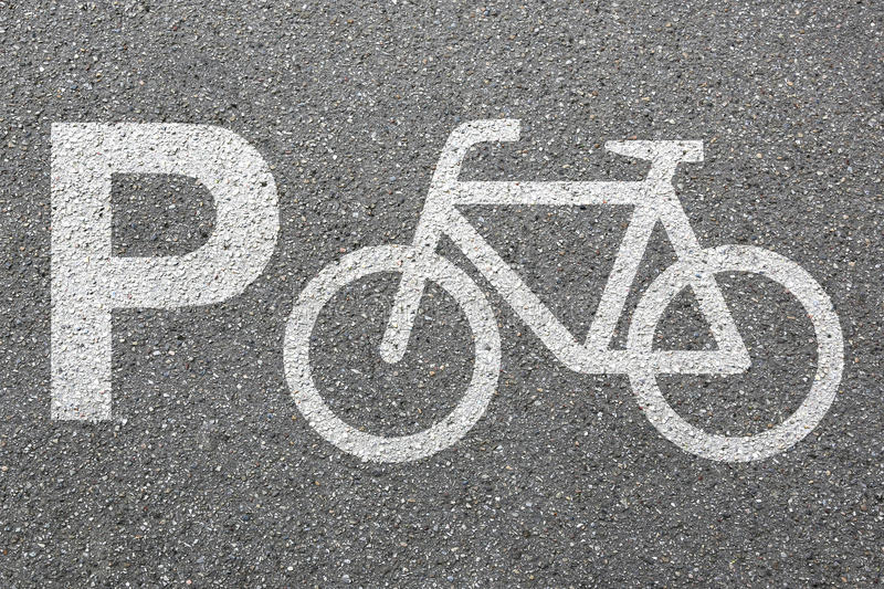 Parking lot sign bike bicycle park cycle traffic town mobility royalty free stock photography