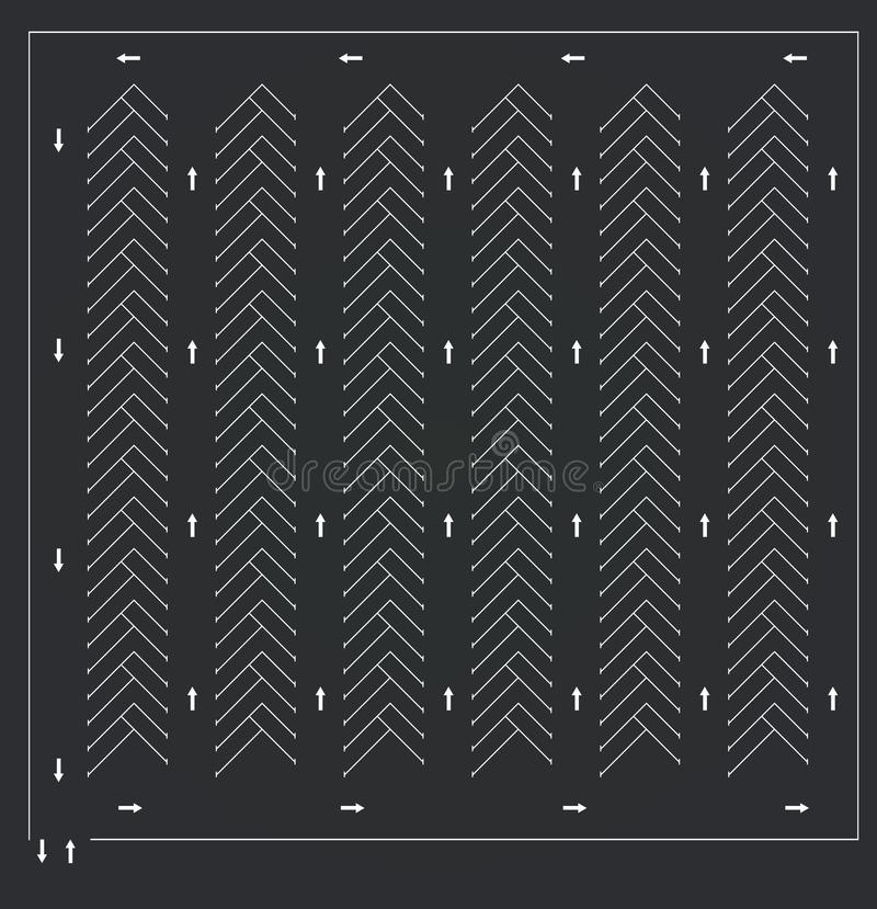 Parking lot, top view vector illustration