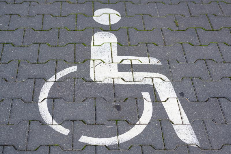 Parking marking for wheelchair users and other disabled persons royalty free stock photography