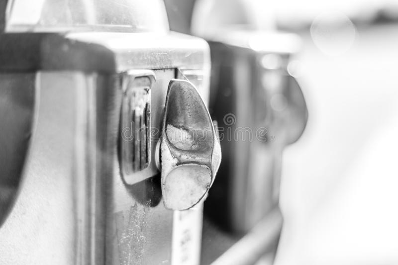 Parking meter, downtown, black and white royalty free stock photos