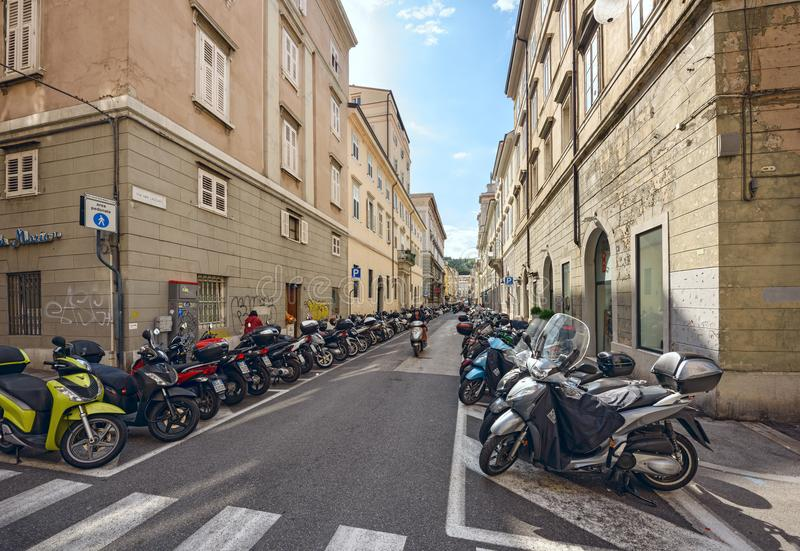 Parking Of Motorcycles On The Street. Trieste, Italy ...