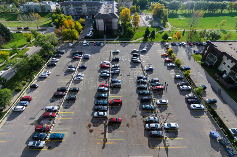 Parking place. Aerial view at parking in Winnipeg City, Manitoba, Canada royalty free stock photography