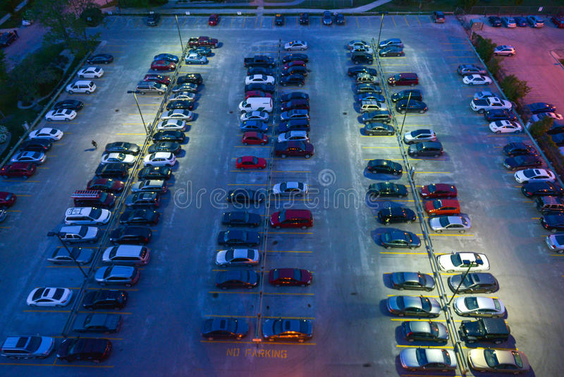 Parking place. Aerial view at parking in Winnipeg City, Manitoba, Canada royalty free stock image