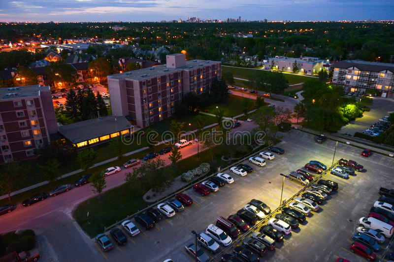 Parking place. Aerial view at parking in Winnipeg City, Manitoba, Canada royalty free stock images