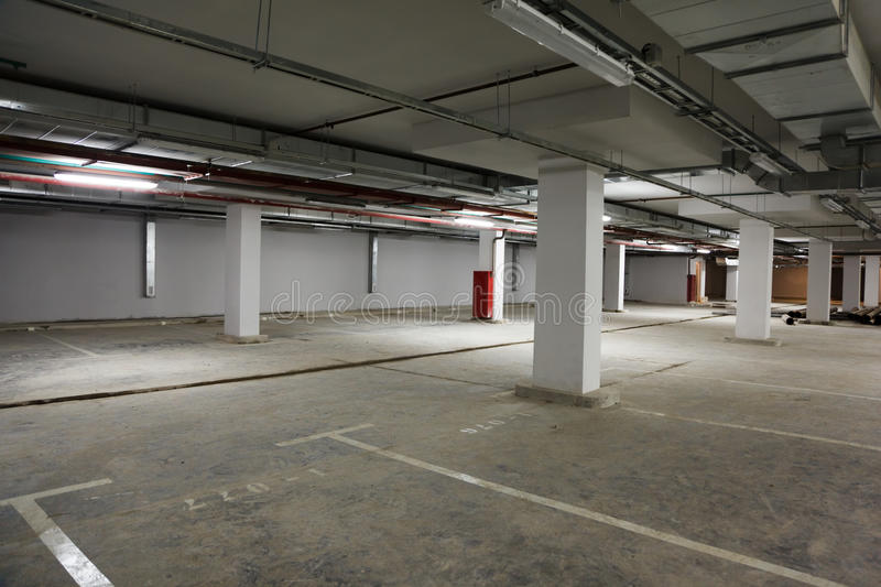 Parking place building. Empty premise with marking for cars royalty free stock images