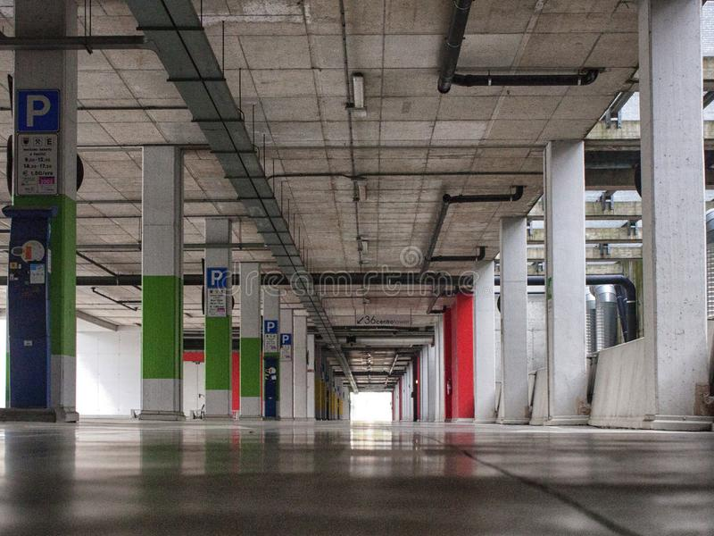 Parking place in a modern building stock image