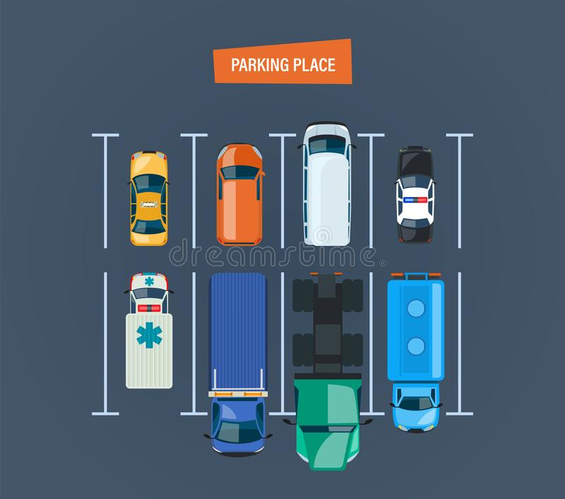 Parking place. Top view of parking lot. Different types cars. stock illustration