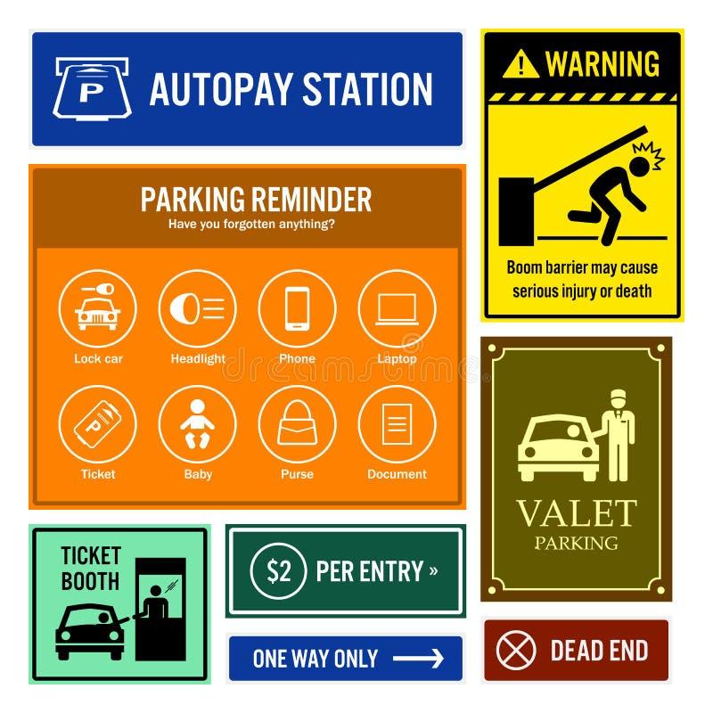 Parking Samochodowy informaci i przypomnienia Signboards ilustracja wektor
