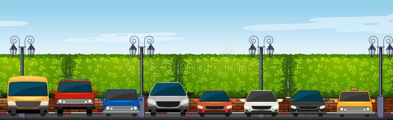 Parking samochodowy pełno samochody ilustracji
