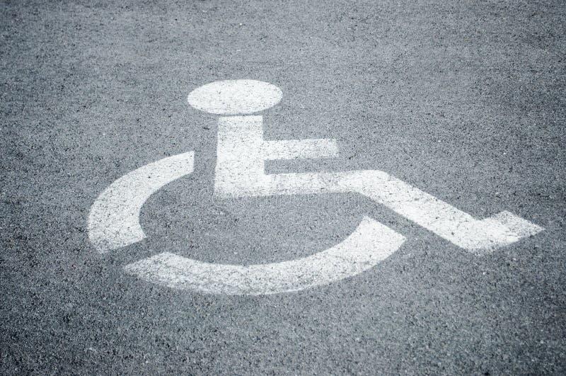 Parking sign for disabled people. On asphalt stock images