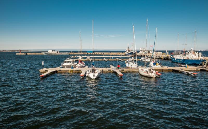Estonia, Tallinn May 04, 2018: Parking of small ships, yachts in the Tallinn Harbor. Spring sunny day. Parking of small ships, yachts in the Tallinn Harbor stock photos