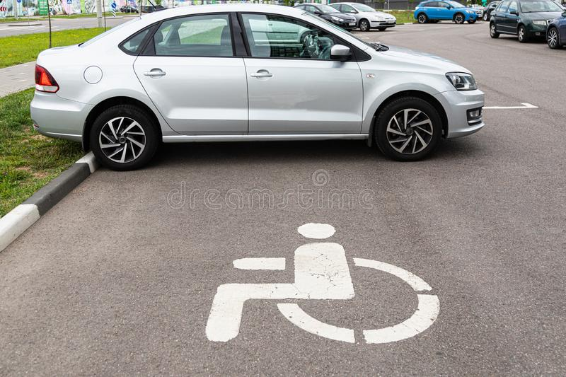 Parking space for challenged people in precinct. Parking space for disabled people in precinct royalty free stock photos