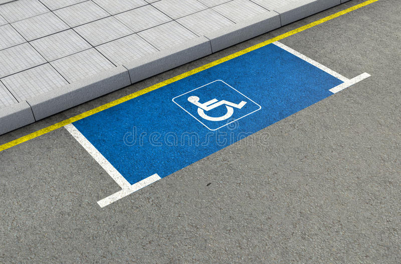 Parking Space Paraplegic. A section of a tarmac road with an empty demarcated paraplegic parking area royalty free stock photo