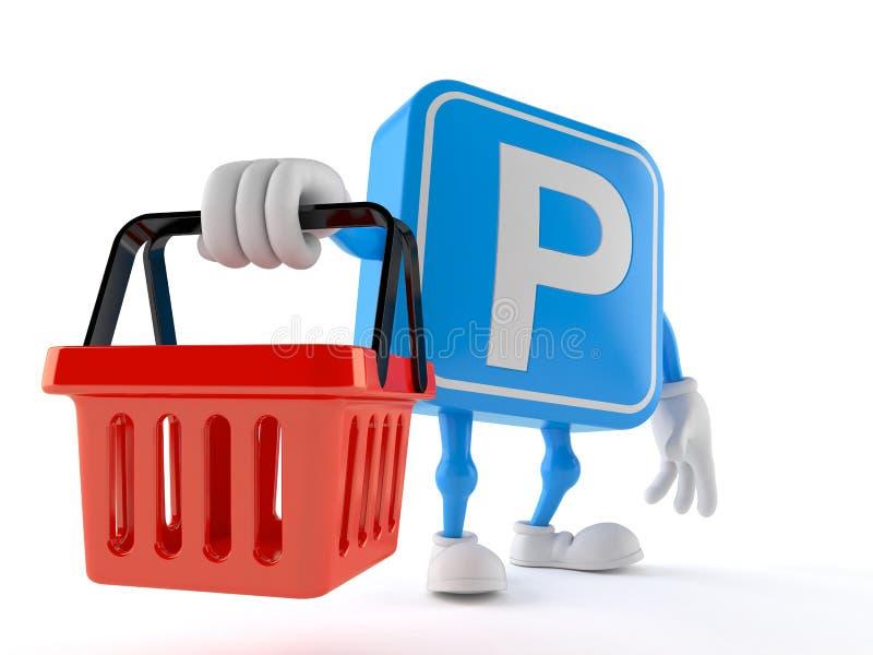 Parking symbolu charakteru mienia zakupy pusty kosz royalty ilustracja