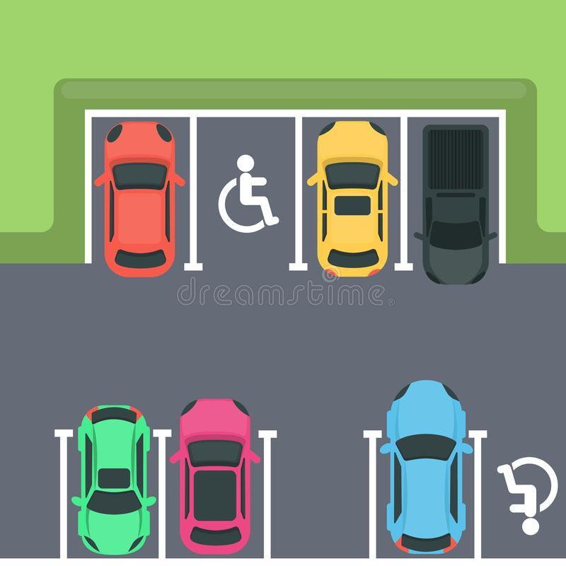 Parking top view. stock illustration