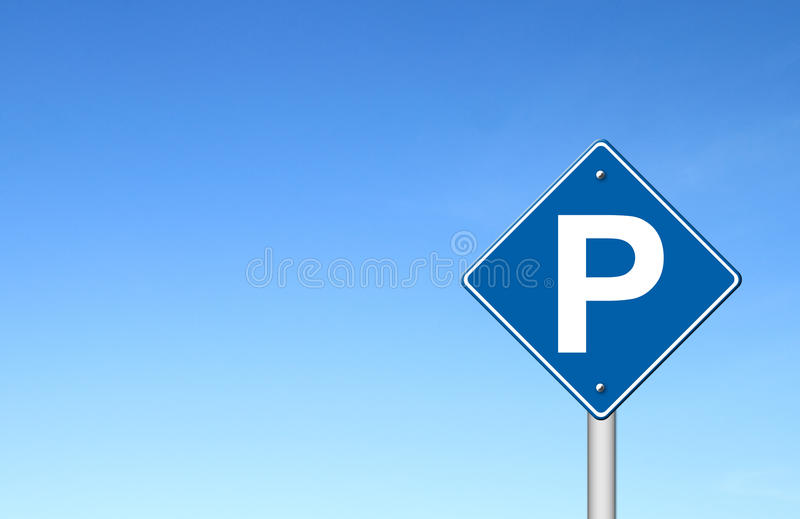 Parking traffic sign with blue sky vector illustration