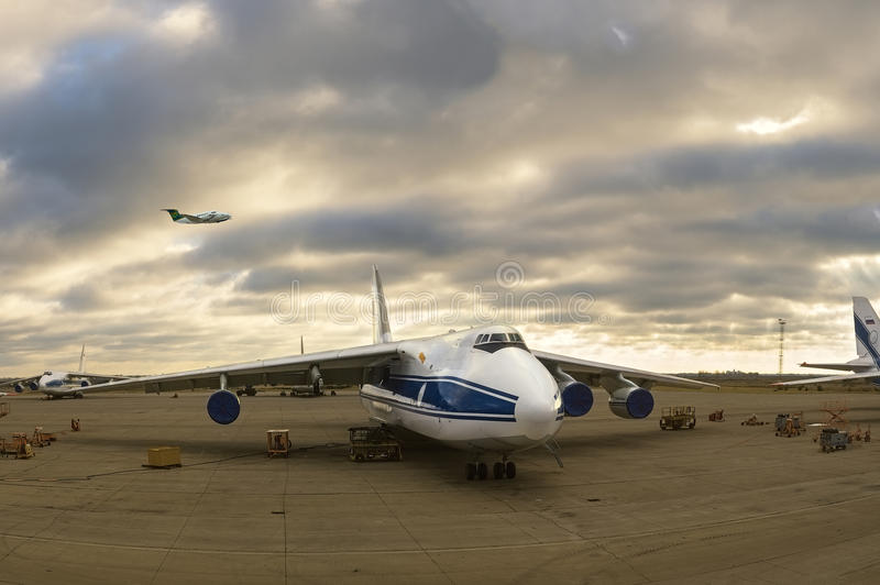 Parking world`s largest cargo plane Ruslan in Ulyanovsk - Russia stock images