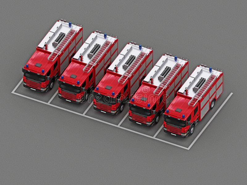 Parking z grupą samochody strażaccy royalty ilustracja