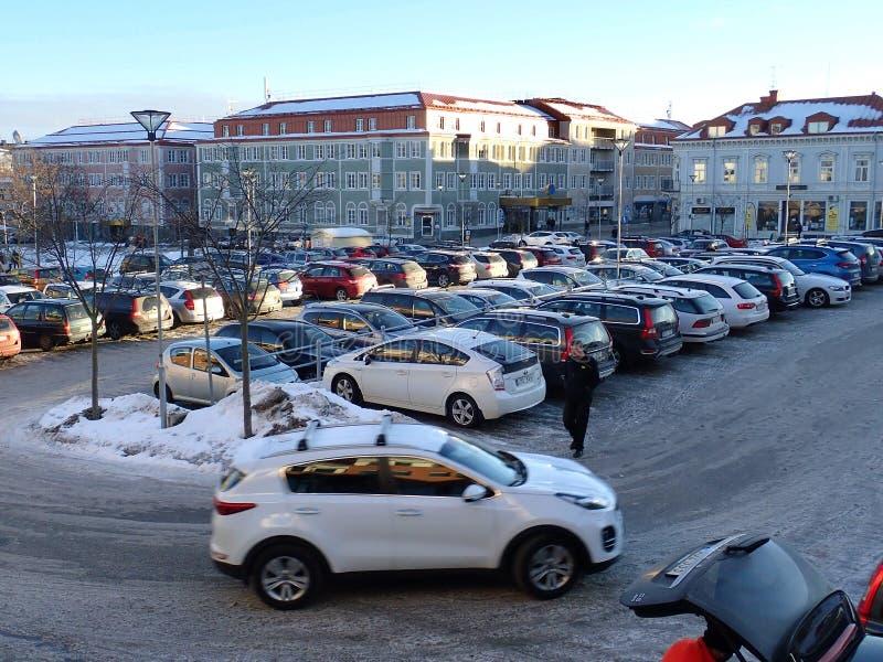 Parkinglot Bageriet, Hudiksvall - fotografia stock