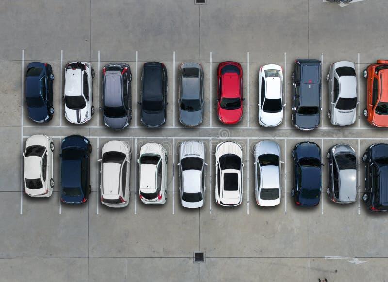 Parkings vides, vue aérienne image stock