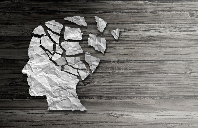 Parkinson Patient Disease Disorder. Parkinson's patient disease and parkinson disorder symptoms as a human head made of crumpled paper with broken pieces royalty free illustration
