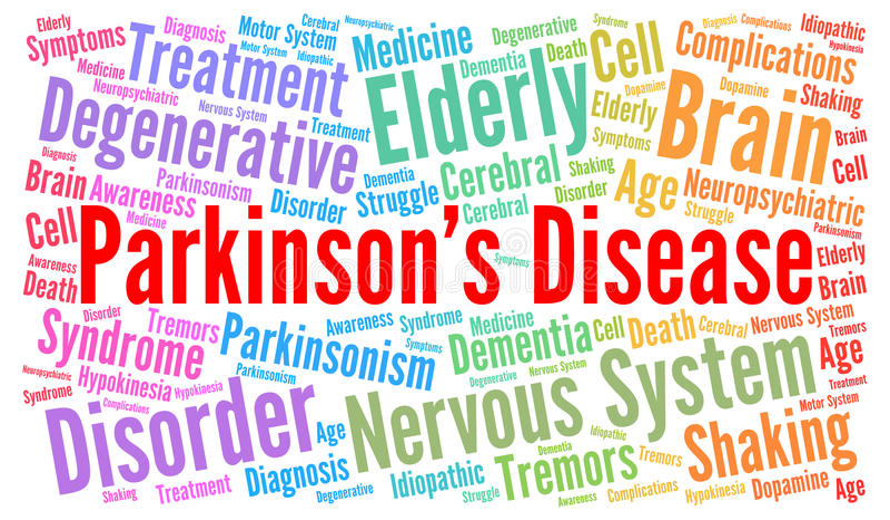Parkinson& x27 σύννεφο λέξης ασθενειών του s ελεύθερη απεικόνιση δικαιώματος