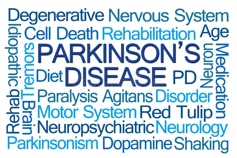 Parkinson choroby słowa chmura zdjęcia stock
