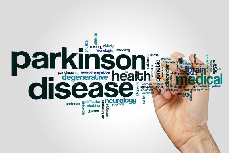 Parkinson disease word cloud concept. Parkinson disease word cloud on grey background stock image