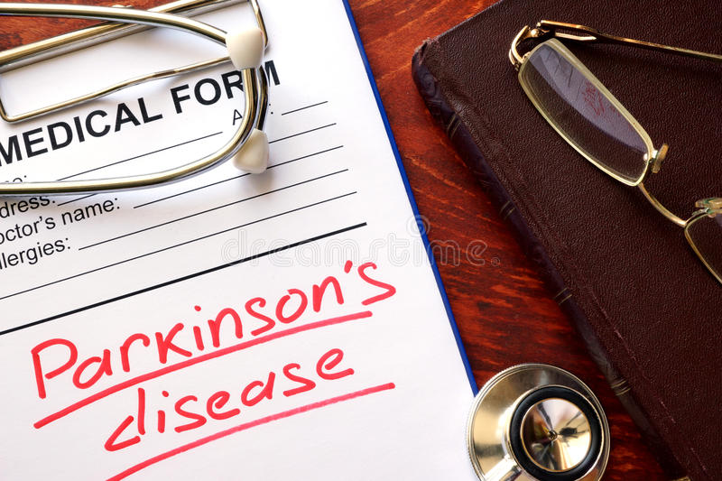 Parkinson disease. Written in a medical form stock photo