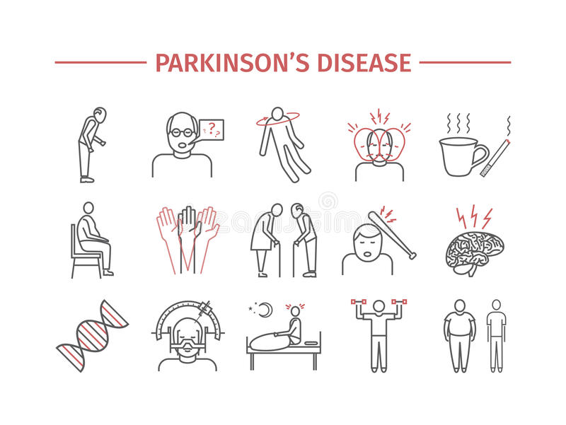 Parkinson`s disease. Symptoms, Treatment. Line icons set. Vector signs for web graphics. stock illustration
