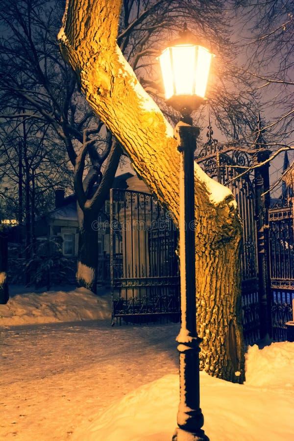 Parklampe nachts stockbilder