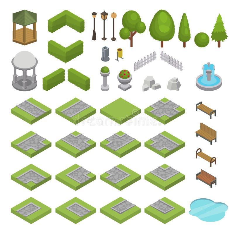 Parkland isométrico del vector del parque con la charca verde de la hierba de los árboles del jardín y de la fuente del banco en  ilustración del vector
