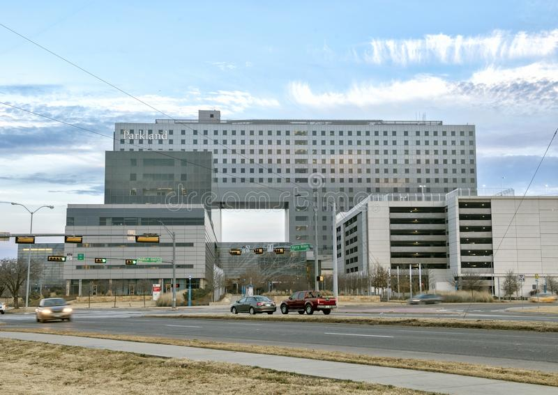 Parkland Memorial Hospital, Dallas, Texas. Parkland Memorial Hospital is located in Dallas, Texas, United States. It serves as Dallas County`s public hospital stock photography