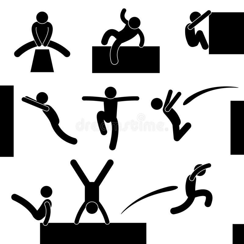 Parkour人跳的上升的飞跃 向量例证