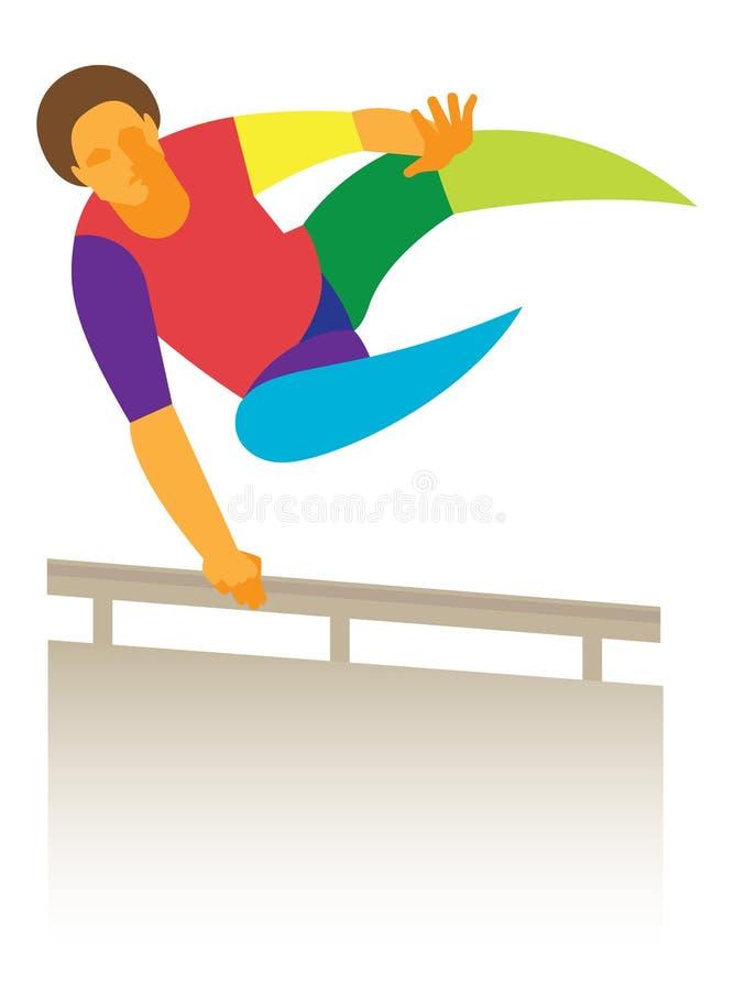 PARKOUR giovane che salta sopra la transenna royalty illustrazione gratis