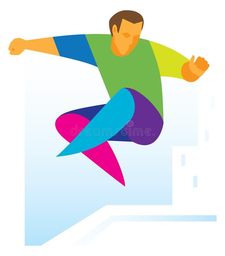 PARKOUR l'atleta che salta con un giro illustrazione vettoriale