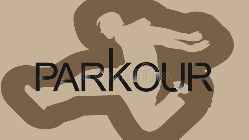 Vector art. Parkour is a man. Leap forward. Parkour is a man. Leap forward. Vector in a minimalistic style. Silhouette of a man against the background of vector illustration