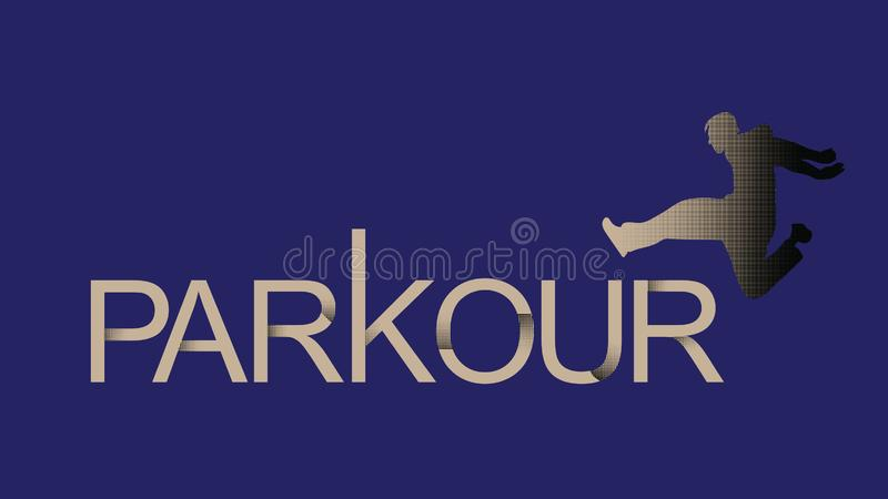 Vector art. Parkour is a man. Leap forward. Parkour is a man. Leap forward. Vector in a minimalistic style. Silhouette of a man with gradient fills. Print for royalty free illustration