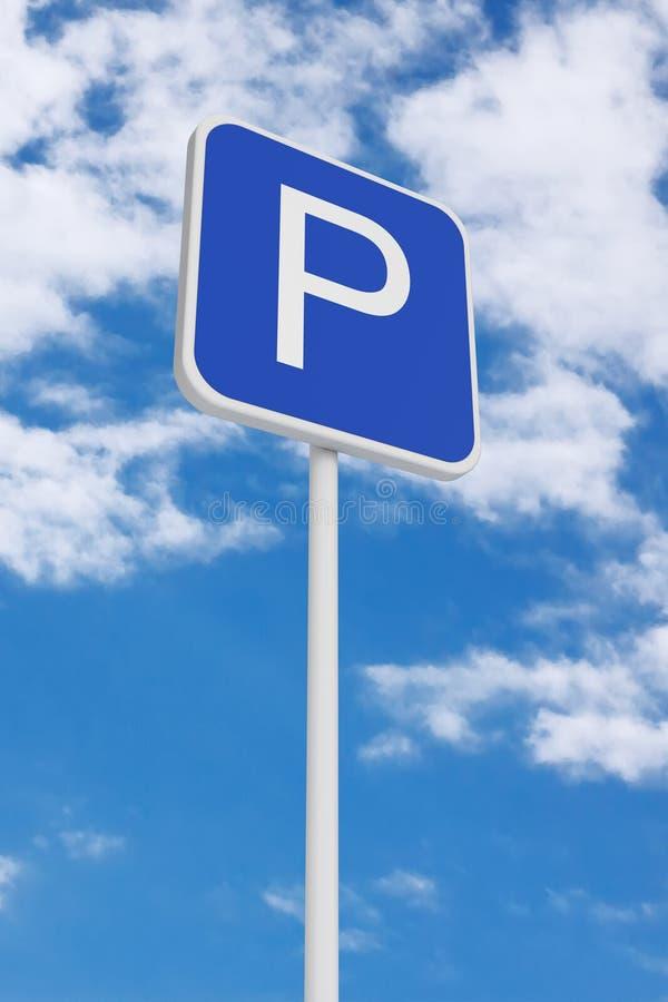 Parkować Drogowego ruchu drogowego znaka świadczenia 3 d zdjęcie stock
