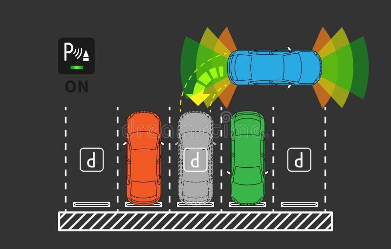 Parkować asysta systemu wektoru ilustrację ilustracji