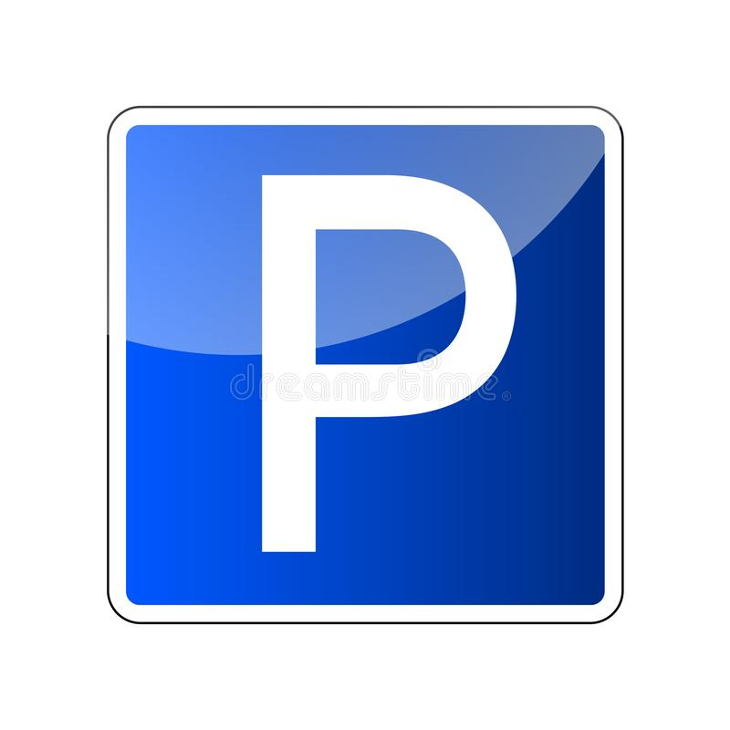 Parkować drogowego znaka puste miejsce Parking miejsca znak dla samochodu Przewieziona parkowa strefa Roadsign przepis Transportu ilustracji